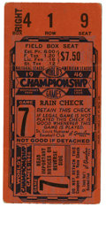 Baseball Collectibles:Tickets, 1946 World Series Game 7 Ticket Stub. Playing a deciding Game 7 forthe 1946 World Series against the Boston Red Sox at the...