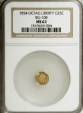 California Fractional Gold: , 1854 25C Liberty Octagonal 25 Cents, BG-108, Low R.4, MS63 NGC. NGCCensus: (10/0). PCGS Population (28/22). (#10377)...