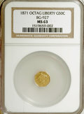California Fractional Gold: , 1871 50C Liberty Octagonal 50 Cents, BG-927, Low R.5, MS63 NGC. NGCCensus: (3/0). PCGS Population (5/0). (#10785)...