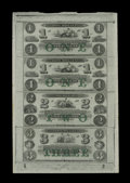 Obsoletes By State:Rhode Island, Newport, RI- New England Commercial Bank $1-$1-$2-$3 18__ Uncut Sheet. ...