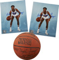"""Autographs:Photos, Walt Frazier Signed Mini Basketball and Signed Photographs Lot of2. A pair of signed 8x10"""" photos featuring the New York K..."""