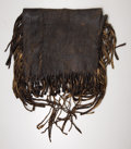 "Western Expansion:Indian Artifacts, FRINGED POSSIBLE BAG WITH NATIVE AMERICAN INFLUENCE - ca.1840-70.This wonderful darkened leather ""possibles"" bag is decorat..."