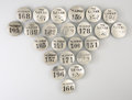 Antiques:Antiquities, Lot of 23 Bellman's Badges from the Lamar Hotel, Houston, Texas....(Total: 23 Items)