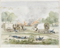 Military & Patriotic:Civil War, Civil War Period Watercolor of Mosby Among The Wagon Trains by Noted Confederate Artist Alfred Von Erickson....