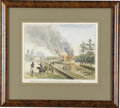 Military & Patriotic:Civil War, Another Very Fine Example of Alfred Von Erickson's Work Entitled Mosby's Men Destroying The Railroad In General Grant's ...