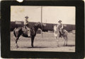 Photography:Cabinet Photos, RARE LOT OF TWO EL PASO, TEXAS IMAGES - SOCORRO, NEW MEXICO COWBOYS- IMAGE OF CIUDAD JUAREZ, MEXICO - BOUDOIR CARDS - ca. 1... (Total:1 Item)