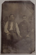 Photography:Tintypes, TWO FRIENDLY LAWMEN POSE FOR 1/6 PLATE TINTYPE....