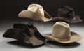 Western Expansion:Cowboy, LOT OF 4 COWBOY HATS - 3 great worn hats circa 1970's-1980's and one circa 1940's Phoenix marked hat with bound edge.. . ... (Total: 4 Items)