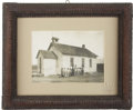 Photography:Cabinet Photos, Framed School House Photograph with Tramp Art Frame ca1890s-1900s....