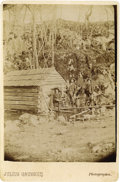 Photography:Cabinet Photos, Three Men and a Baby Cabinet Card Photograph in Front of Log Cabin....