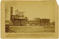 Photography:Cabinet Photos, Cabinet Card of the First Public Railway Locomotive, 1857-1892. ...