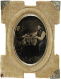 Photography:Tintypes, Sixth Plate Tintype Two Men Playing Cards ca 1860s-1870s - ...