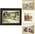 Western Expansion:Cowboy, Lot of Three Photographs Depicting Wagons ca 1890s - ... (Total: 4Items)