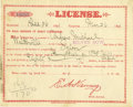 Western Expansion:Goldrush, License for Saloon Walkerville, Montana 1891 - ...