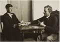 Western Expansion:Cowboy, Fancy Framed Photograph of two Men Gambling New Mexico 1900s - ...