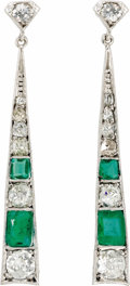 Estate Jewelry:Earrings, Diamond, Emerald, White Gold Earrings. The earrings feature European-cut diamonds, enhanced by rectangle-shaped emeralds, ...