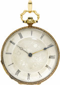Timepieces:Pocket (pre 1900) , French Gold Openface Pocket Watch, circa 1840. Case: 40 mm, hinged,ornately decorated 18k yellow gold with coin edge. Dia...