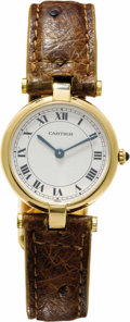 Timepieces:Wristwatch, Cartier Lady's Gold, Leather Strap Wristwatch, Modern. Case: 30 x24 mm, 18k yellow gold, case back stamped Cartier Paris ...