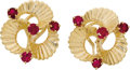 Estate Jewelry:Earrings, Ruby, Gold Earrings. Each ribbon style earring features round-cutrubies, set in 14k yellow gold. Total ruby weight for th...