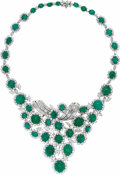 Estate Jewelry:Boxes, Emerald, Diamond, Platinum Necklace. ...