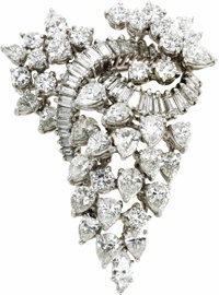 Diamond, Platinum Pendant-Brooch  The flexible pendant-brooch features round brilliant-cut diamonds weighing a total of...