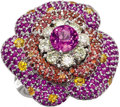 Estate Jewelry:Rings, Multi-Color Sapphire, Diamond, Gold Ring. The ring, designed as aflower, is highlighted by a round-cut pink sapphire meas...