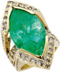 Estate Jewelry:Rings, Emerald, Diamond, Gold Ring. The ring is highlighted by amarquise-cut emerald measuring 21.20 x 12.90 x 10.00 mm and weig...