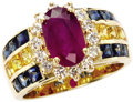 Estate Jewelry:Rings, Ruby, Sapphire, Diamond, Gold Ring. The ring centers an oval-shapedruby measuring 10.35 x 6.40 x 4.40 mm and weighing app...