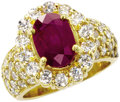 Estate Jewelry:Rings, Ruby, Diamond, Gold Ring. The ring features an oval-shaped ruby measuring 9.50 x 6.80 x 5.15 mm and weighing approximately...