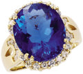Estate Jewelry:Rings, Fluorite, Diamond, Gold Ring. The ring centers an oval-shaped colorchange fluorite measuring 14.15 x 12.15 x 8.20 mm and ...