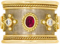 Estate Jewelry:Rings, Ruby, Diamond, Gold Ring, Elizabeth Gage. The cigar band style ringfeatures oval-shaped rubies alternating with full-cut ...