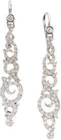 Estate Jewelry:Earrings, Diamond, Gold Earrings, Canturi. Each dangling earring features full-cut diamonds, set in 18k white gold. Total diamond we...