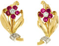 Estate Jewelry:Earrings, Ruby, Diamond, Gold Earrings. Each flower earring features full-cutdiamonds, enhanced by round-cut rubies, set in 18k gol...