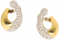 Estate Jewelry:Earrings, Diamond, Gold Earrings. Each asymmetric earring features full-cutdiamonds weighing a total of approximately 1.50 carats, ...