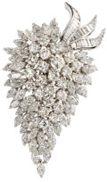 Estate Jewelry:Brooches - Pins, Diamond, Platinum Pendant-Brooch. The brooch, designed as a grape cluster, features full, marquise and baguette-cut diamon...