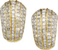 Estate Jewelry:Earrings, Diamond, Gold Earrings. Each earring features square-cut diamondsweighing a total of approximately 2.50 carats, enhanced ...