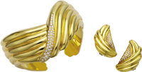 Diamond, Gold Jewelry Suite, Van Cleef & Arpels  The suite includes: a hinged cuff bracelet featuring full-cut diamo...