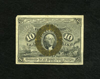 """Fr. 1245 10c Second Issue Extremely Fine. An enormously margined example of this somewhat scarcer number with """"18-6..."""