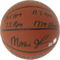 Basketball Collectibles:Balls, Magic Johnson Single Signed Stat Basketball. Great single from oneof the most dominant players to ever set foot on NBA har...