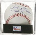 "Autographs:Baseballs, Jim Brown ""HOF 71"" Single Signed Baseball, PSA Mint+ 9.5. One ofthe most dominant players to ever grace the gridiron has a..."