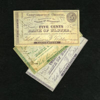Saugerties, NY- Village of Saugerties 5¢; 10¢; 25¢ Oct. 15, 1862 The 5¢ grades Fine, once mounted wi...