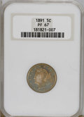 Proof Liberty Nickels: , 1891 5C PR67 NGC. Crisply struck and contact-free, with watery iridescent colors of sky-blue, violet, and golden-tan on bot...