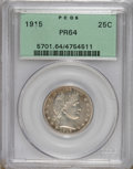 Proof Barber Quarters: , 1915 25C PR64 PCGS. Deeply reflective with wispy gray-gold patina over the shining mirrors. Needle-sharp devices display a ...