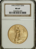 1990 G$50 One-Ounce Gold Eagle MS69 NGC. NGC Census: (1006/35). PCGS Population (1117/24). Mintage: 373,210. Numismedia...