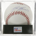 Autographs:Baseballs, Jose Canseco Single Signed Baseball, PSA Mint+ 9.5. Media darlingJose Canseco has signed this OML baseball on the sweet sp...