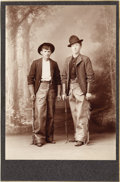 Photography:Cabinet Photos, YOUNG COWBOYS WITH CHAPS AND QUIRTS - CABINET CARD - ca. 1900. Aninteresting image of two young cowboys with very nice frin...(Total: 1 Item)