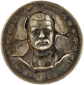 Political:Pinback Buttons (1896-present), Theodore Roosevelt: Unusual High-Relief TR Pinback, Made from a 1908 Barber Half-Dollar....