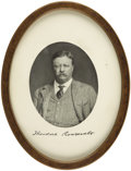 Political:Small Paper (1896-present), Theodore Roosevelt: Lithographed portrait in Oval Frame....