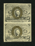 Fractional Currency:Second Issue, Fr. 1233 5c Second Issue Vertical Pair Very Fine....