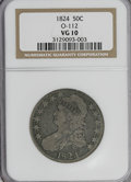 Bust Half Dollars: , 1824 50C VG10 NGC. O-112. NGC Census: (2/640). PCGS Population(2/637). Mintage: 3,504,954. Numismedia Wsl. Price for NGC/...